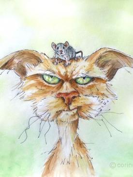 chat avec souris sur la tête, végétarien