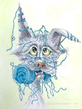 chat emmêlé dans une pelote de laine, mensonge