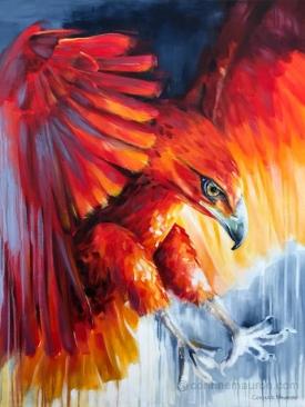Aigle ailes déployées, rouge et bleu