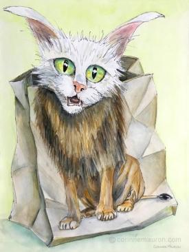 Chat dans un sac imprimé motif lion