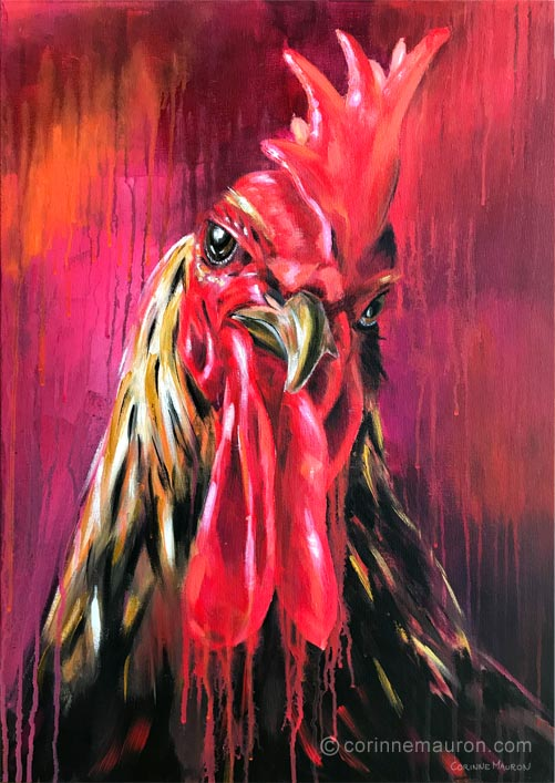 Coq rouge avec grande crête